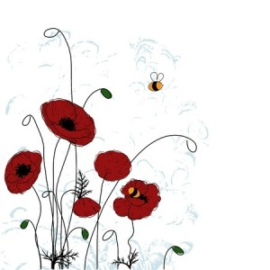 Poppies and Bumble Bees 123RF Stock Photo