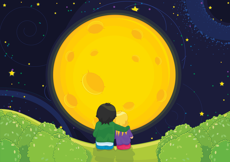 Kids under the moon, dreamstime_s_25428709