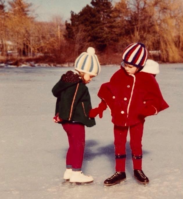 Sisters skating, circa 1970